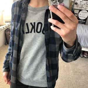 JCrew blue and gray flannel